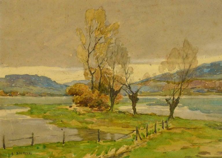 Unknown Landscape Art - French Landscape Watercolor - Serene Open Field