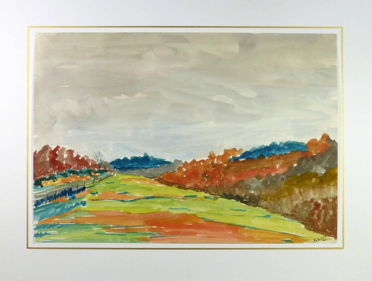 Fall Landscape Watercolor - Green Field with Grey Skies and Autumn Colors  - Beige Landscape Art by Unknown