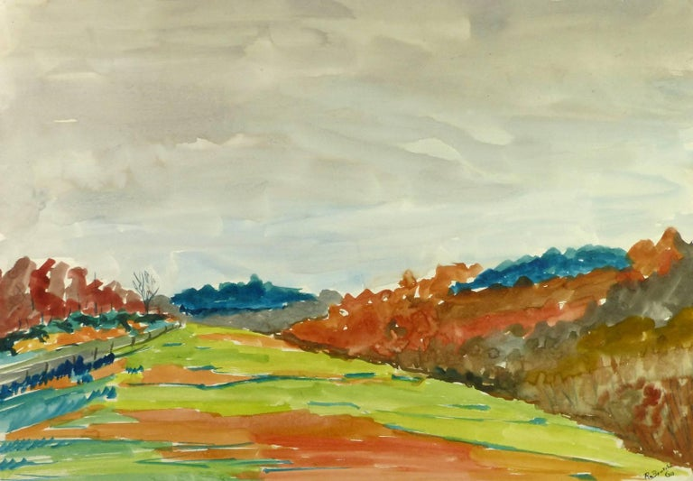 Unknown Landscape Art - Fall Landscape Watercolor - Green Field with Grey Skies and Autumn Colors
