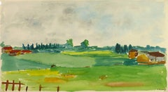 Landscape Watercolor - Green Pasture with Country Homes