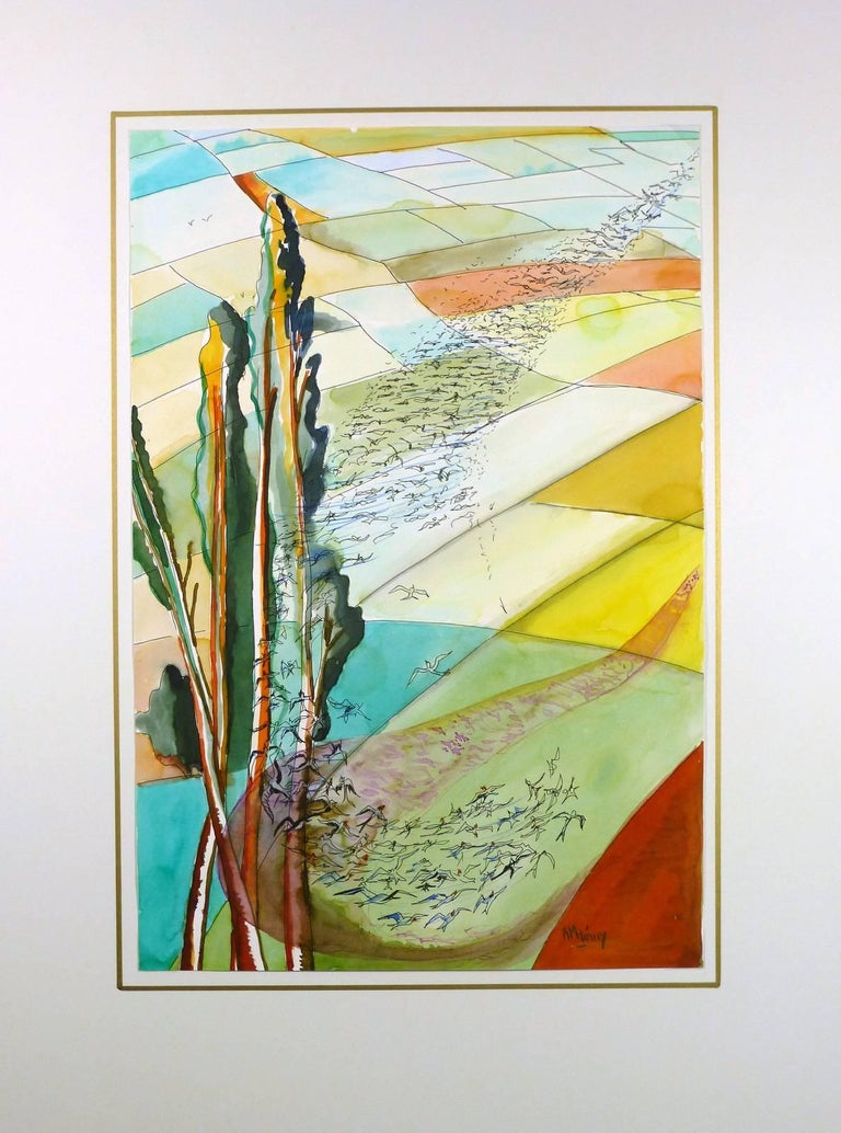 Colorful watercolor and pen and ink painting of a flock of birds sweeping over multichromatic fields by French artist Rémy, circa 1980. Signed lower right.    Original artwork on paper displayed on a white mat with a gold border. Mat fits a