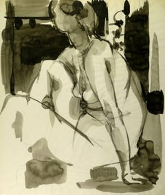 Seated Nude Ink Wash