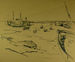 Vintage Ink Wash Drawing - Fishing Boats and Lighthouse