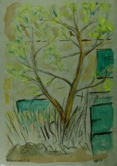 Watercolor Landscape - Lone Tree in Front of House