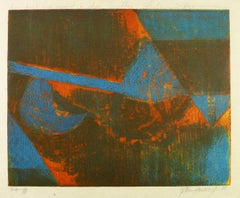 Blue & Red Abstract Etching