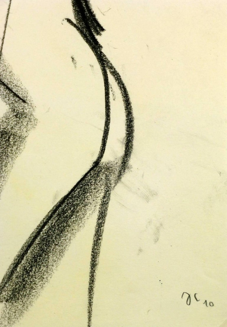 Dynamic French nude figure drawing of pregnant female in charcoal, 2010. Signed lower right.    Original artwork on paper displayed on a white mat with a gold border. Mat fits a standard-size frame.  Archival plastic sleeve and Certificate of