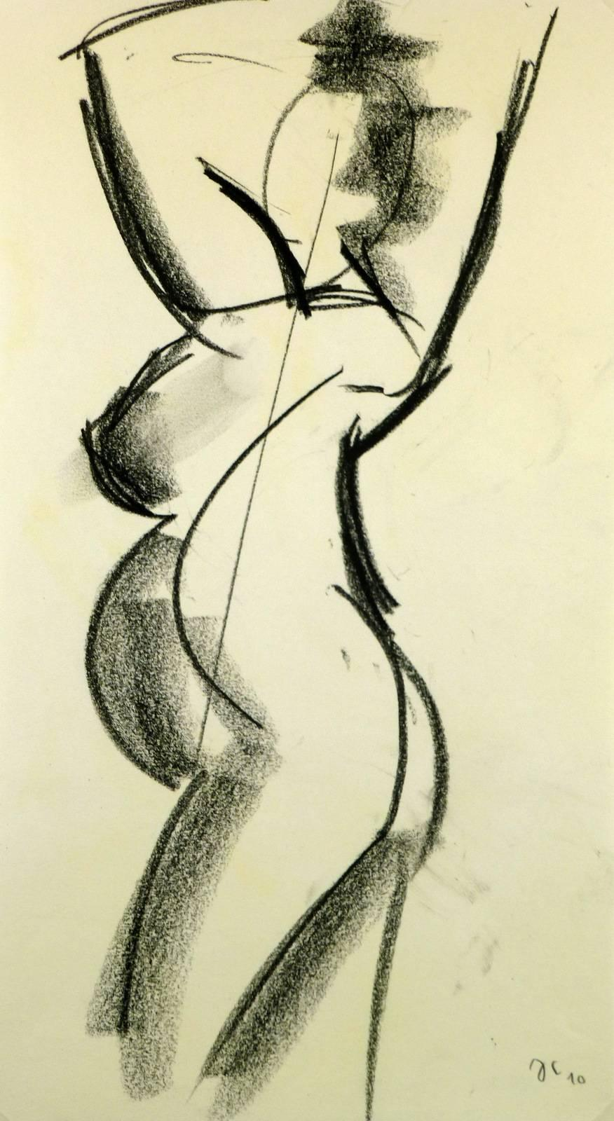 Pregnant Female Charcoal Nude