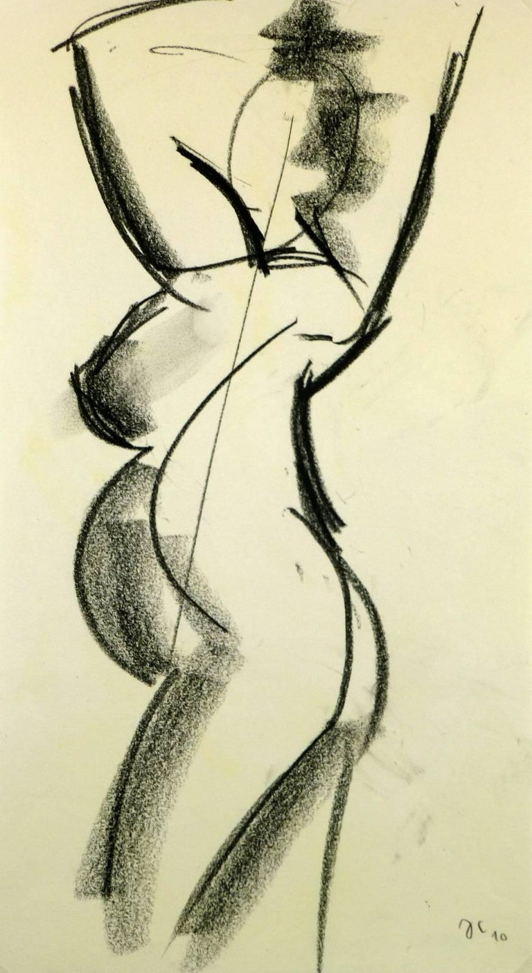 Pregnant Female Charcoal Nude - Art by Unknown