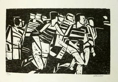 Black and White Lithograph of Rugby Game