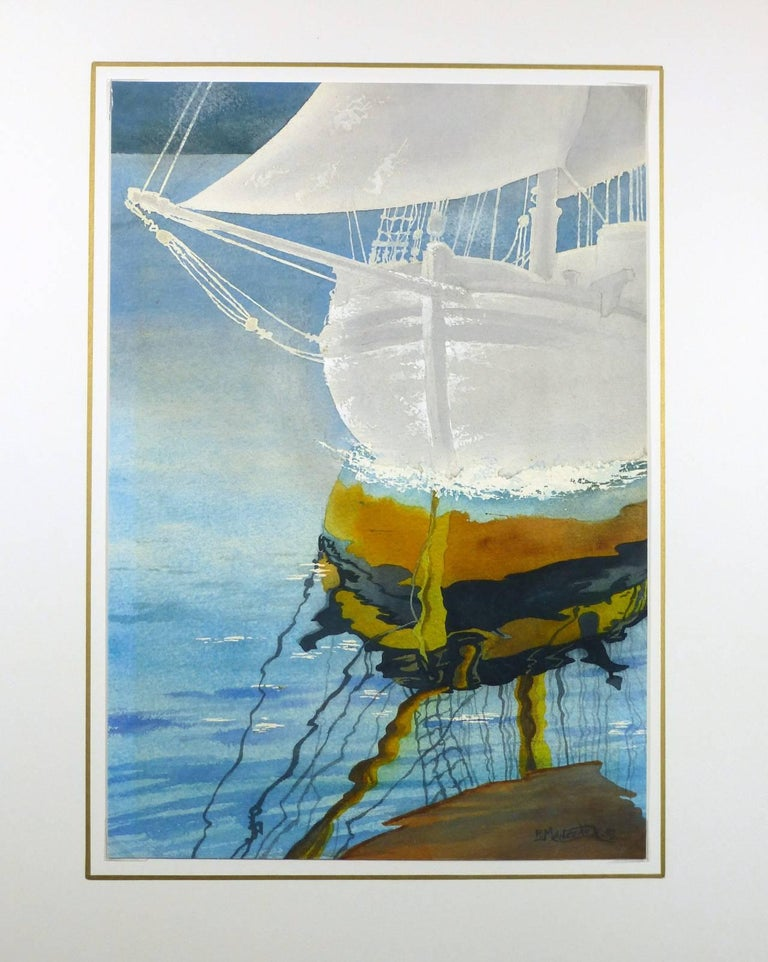 Sailboat Reflection - Blue Landscape Art by Unknown