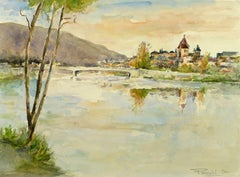 French Riverside Village Watercolor