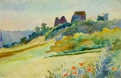 Watercolor - Chateau On A Hill (Chateau de la Madeleine - Chevreuse, France)