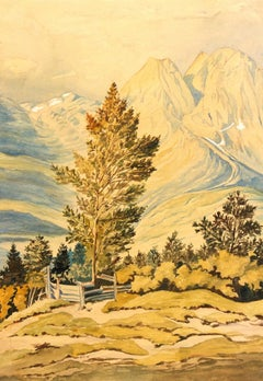 Antique Watercolor - Rich Sunlit Mountainside Landscape