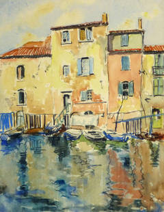Vintage French Watercolor Landscape