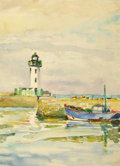 Vintage French Watercolor - Normandy Lighthouse