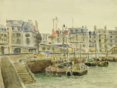 Vintage French Harbor Watercolor