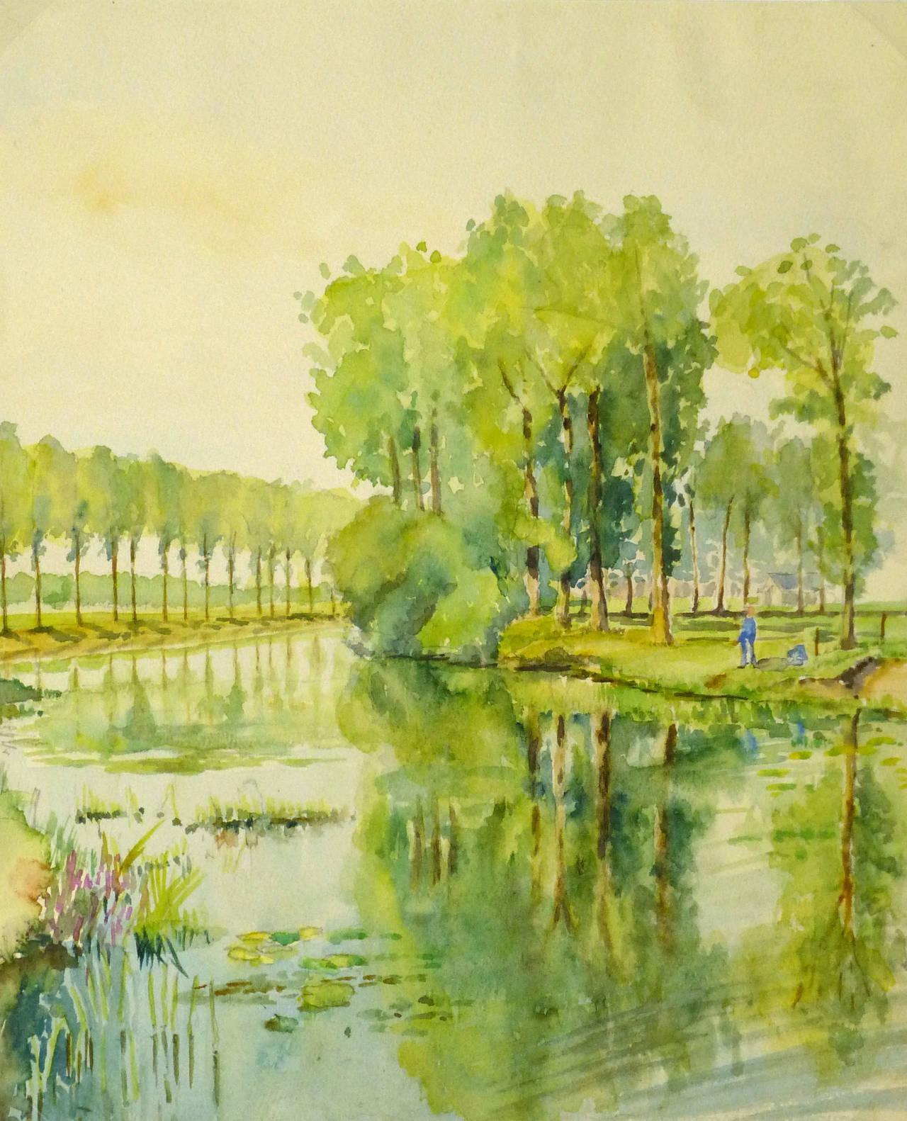 C. Groux Landscape Art - Vintage French Landscape Painting