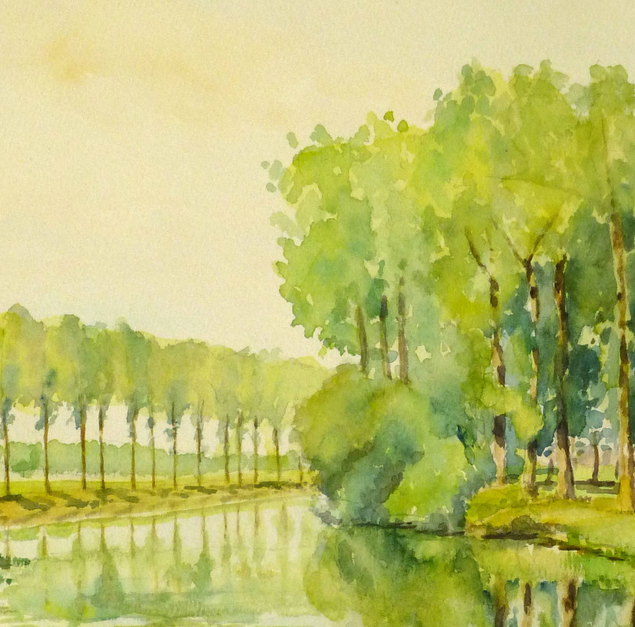 Splendid vintage watercolor painting of glassy pond lined with trees and green foliage in Normandy, France by C. Groux, circa 1930. Unsigned.   Displayed on a white mat with a gold border and fits a standard-size frame. Archival plastic sleeve and