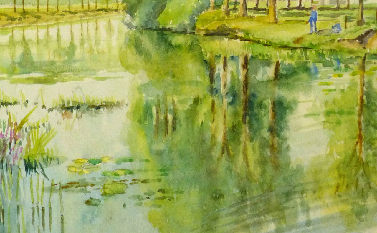 Vintage French Landscape Painting - Art by C. Groux