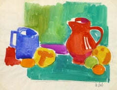 Vintage French Gouache Still-Life Painting