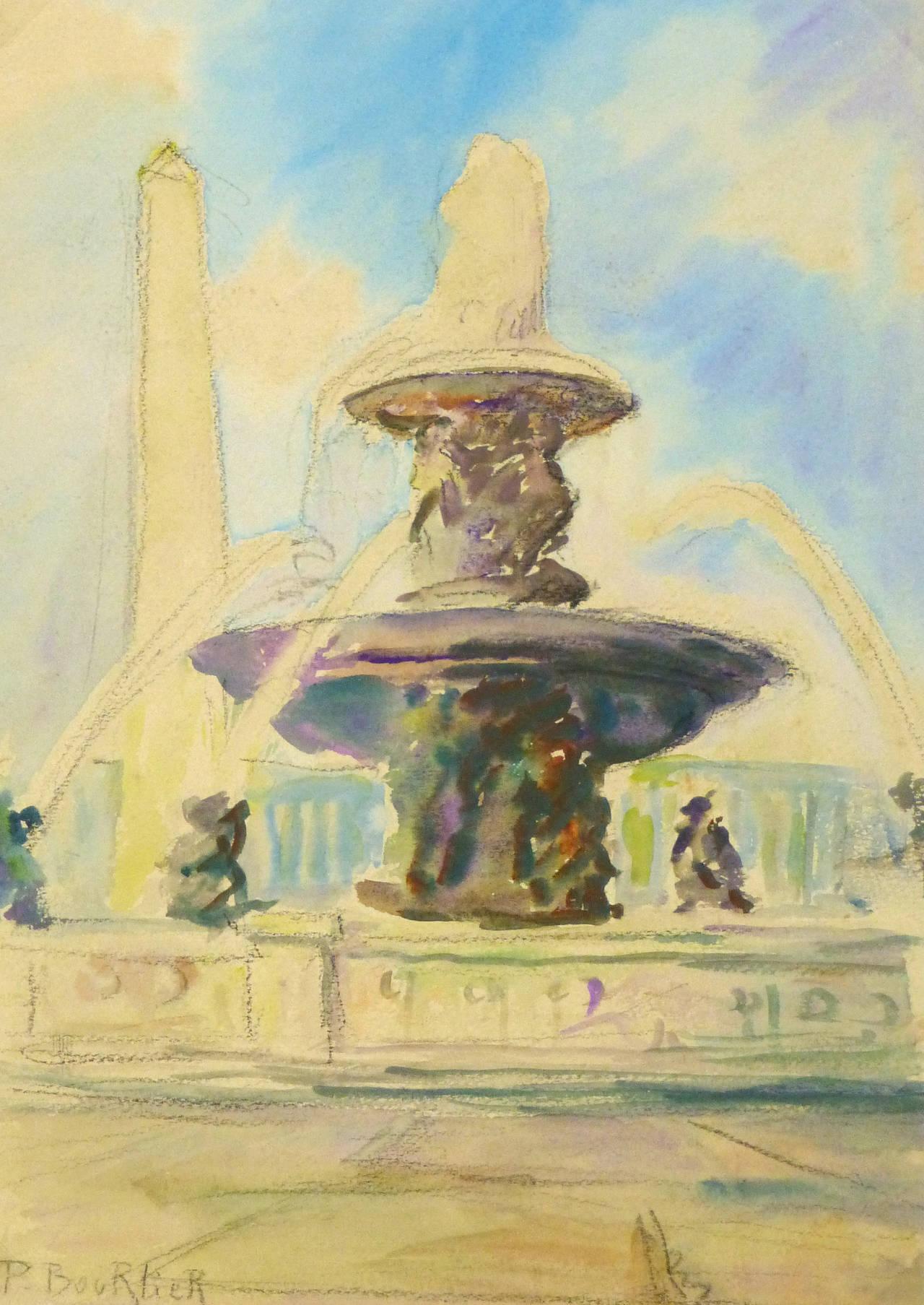 Vintage French Watercolor - Place de la Concorde, Paris