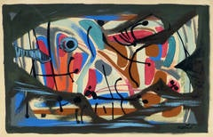 Vintage French Abstract Painting - Poisson Mérité