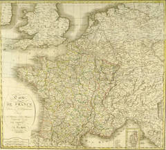 Large Antique Map of France, 1821