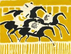 Vintage Horse Race Modern Art - Hippodrome d'Auteuil