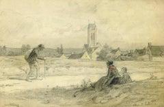 Vintage French Landscape Drawing - Villiers Saint Paul