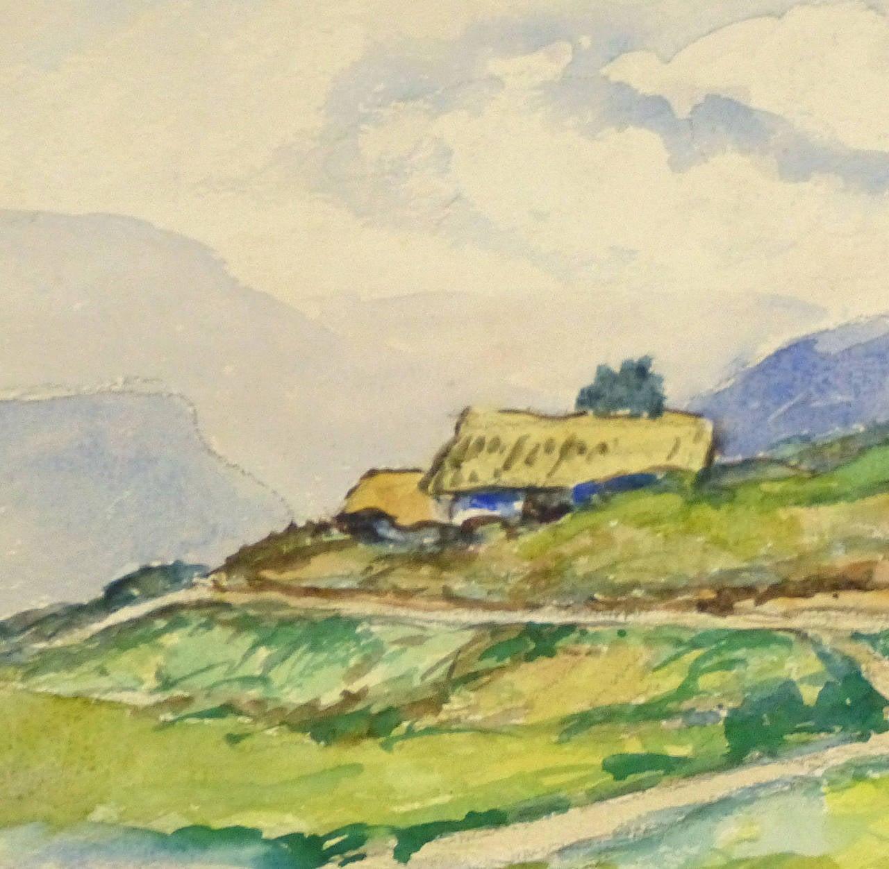 Connecticut watercolor artists directory - Vintage French Watercolor Landscape Tour De France 2
