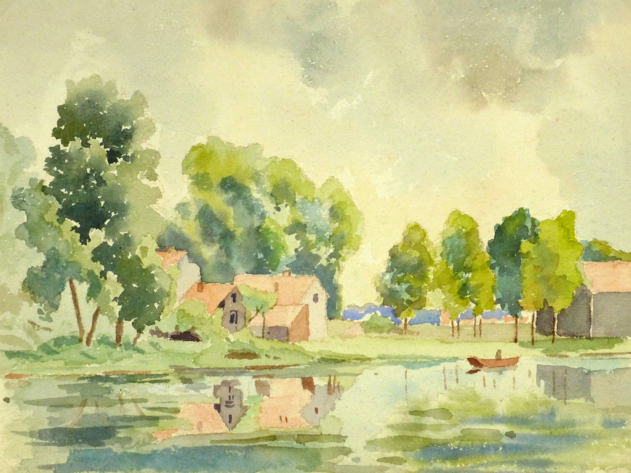Unknown Vintage French Watercolor Landscape Les Bords