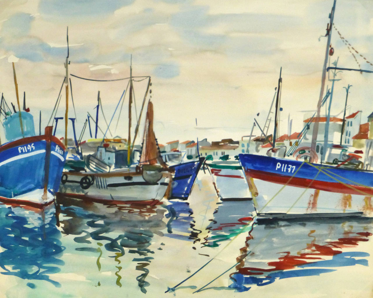 Vintage French Watercolor Seascape - Harbor Reflections