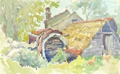 Vintage German Watercolor Landscape- The Barnyard