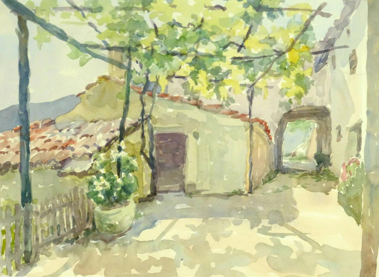 Wilhelm Kloden Vintage Watercolor Landscape Midday At
