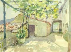 Vintage Watercolor Landscape - Midday at the Villa