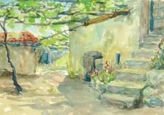 Vintage Watercolor Landscape - Villa Courtyard