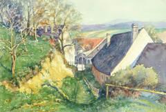 Vintage Watercolor Landscape - The Back Way