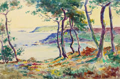 Vintage French Watercolor Landscape - Point of View