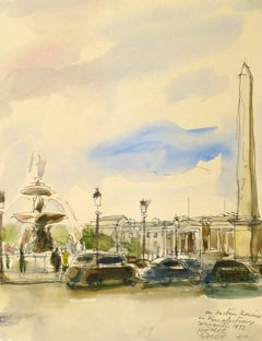 Vintage French Ink and Watercolor Landscape - Place de la Concorde Paris