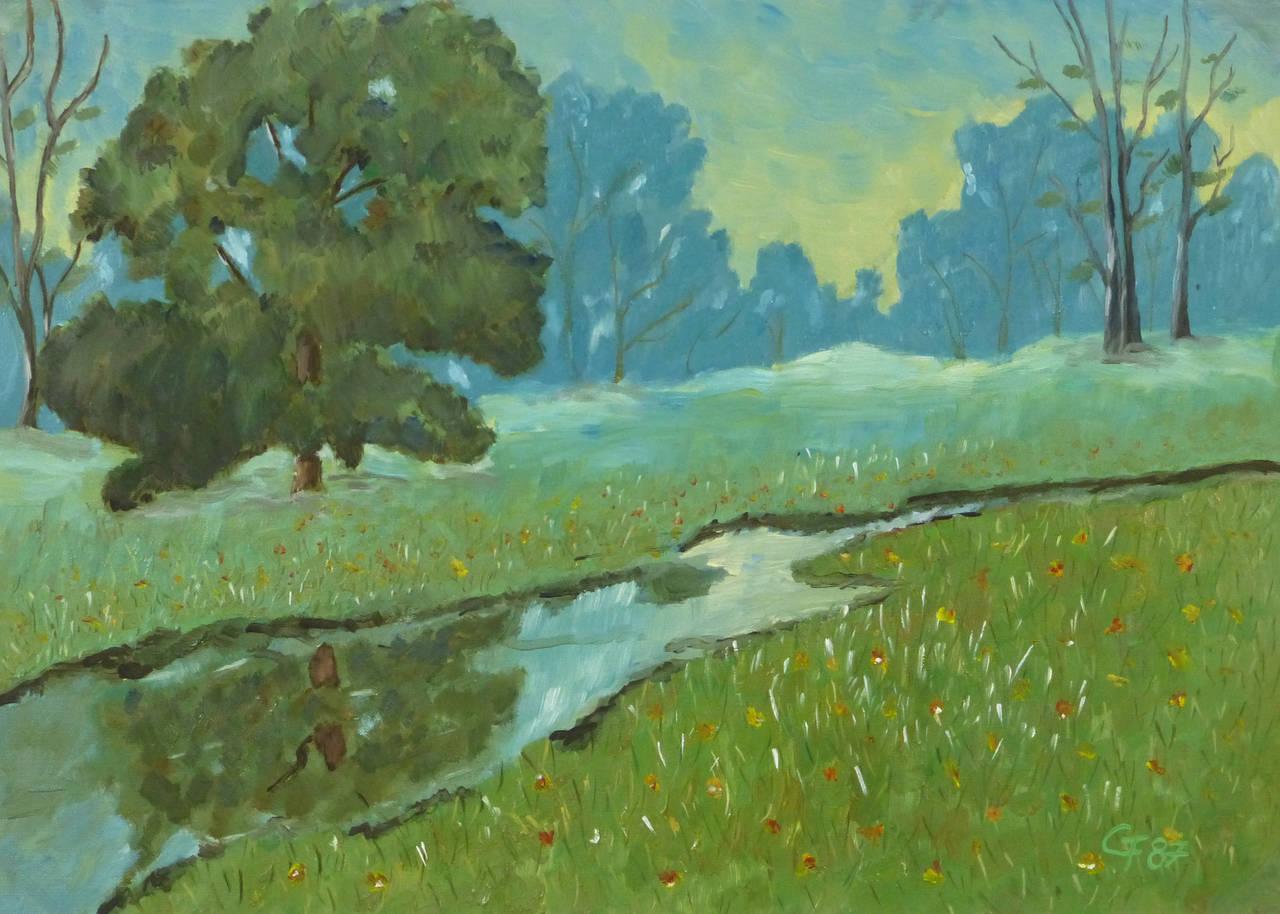 Vintage French Landscape - Meadow Creek