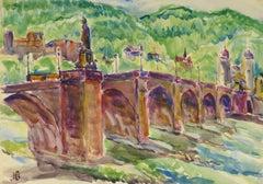Vintage Watercolor Landscape - Heidelberg Bridge