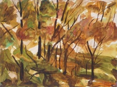 French Watercolor Forest Landscape
