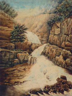 Antique French Watercolor Landscape - Waterfall