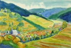 Vintage French Watercolor - Pastoral Landscape