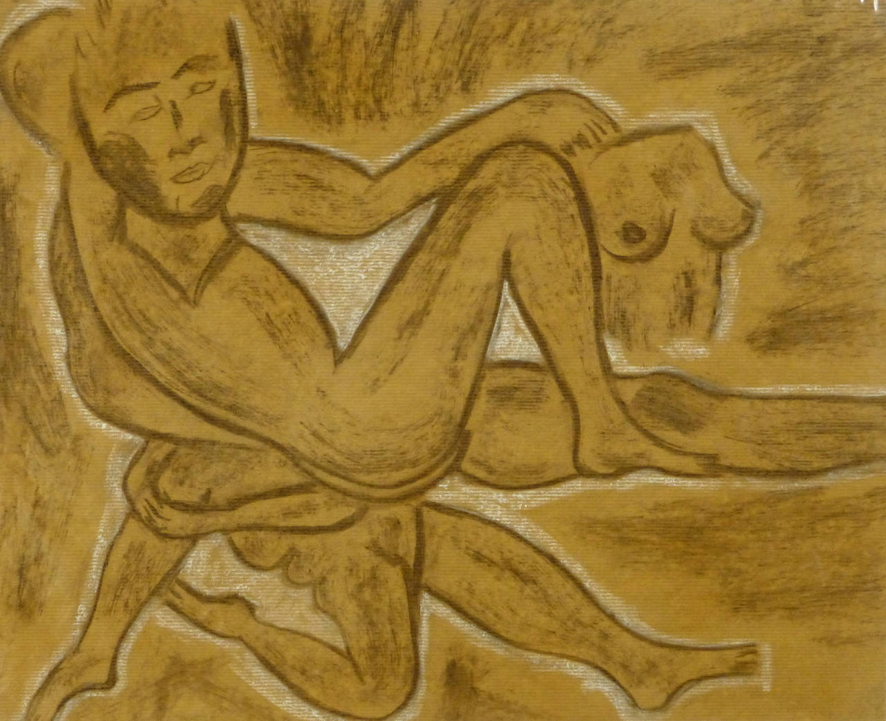 Unknown french charcoal drawing abstract nudes