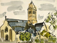 Vintage Watercolor Church Painting