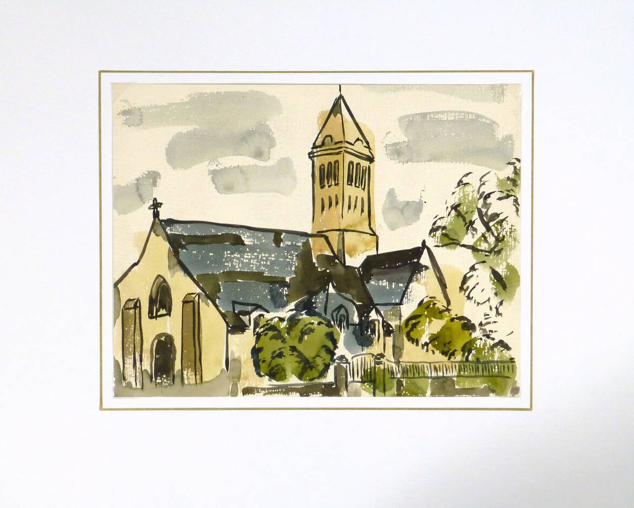 French watercolor painting of a romanesque elegant church surrounded by trees by aritist Wornser, circa 1950. Unsigned.  Original one-of-a-kind artwork on paper displayed on a white mat with a gold border. Mat fits a standard-size frame. Archival