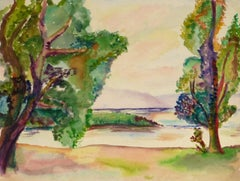 Vintage Watercolor Landscape - Lake Verde