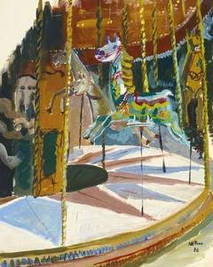 Vintage French Gouache - The Carousel