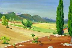 Vintage French Gouache Landscape - Provence